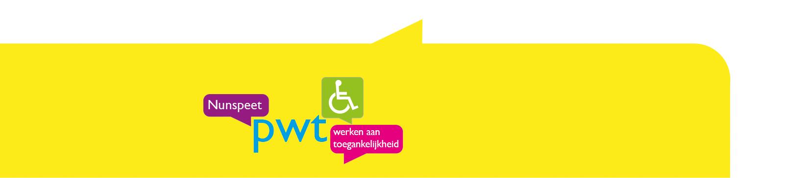 Logo van de Plaatselijk Werkgroep Toegankelijkheid Nunspeet over de breedte van de pagina.