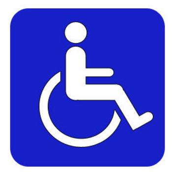 Afbeelding van een wit rolstoel symbool op een blauw bord.
