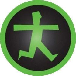 Afbeelding van een groen omrande zwarte cirkel met een groene rennende persoon.