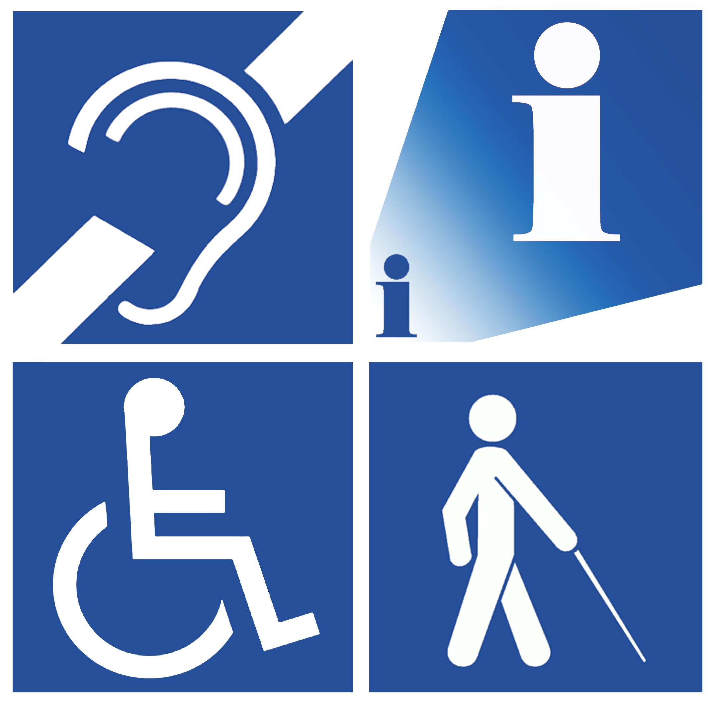 Blauw vierkant met witte letter I, symbool voor loop- gehoor- en visuele beperking.